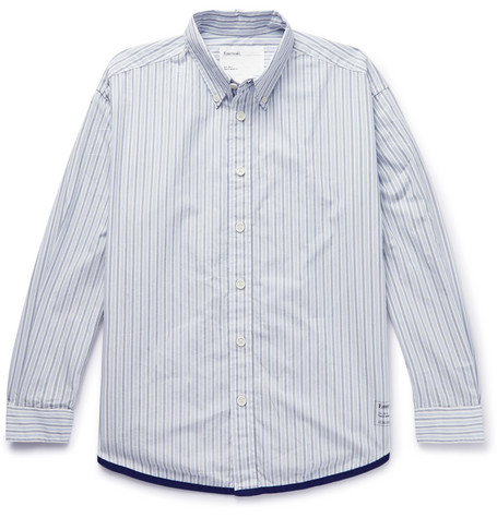 Entireworld Giant Oversized Button-Down Collar Striped Organic Cotton Oxford Shirt