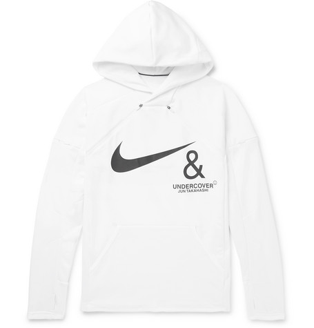 Nike + Undercover Logo-Print Mesh-Panelled Jersey Hoodie