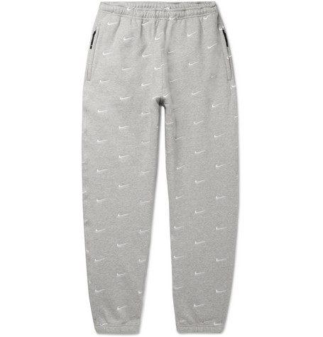 Nrg Tapered Logo Embroidered Mélange Fleece Back Cotton Blend Jersey Sweatpants by Nike