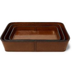 Ben Soleimani Three-Piece Leather Tray Set