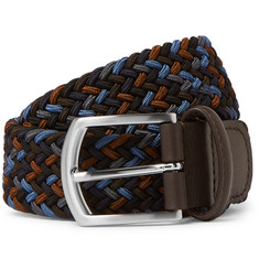 Anderson's 3.5cm Navy Leather-Trimmed Woven Elastic Belt