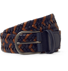 Anderson's 3.5cm Navy Woven Leather Belt