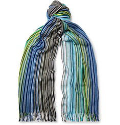 Missoni Fringed Striped Cotton Scarf