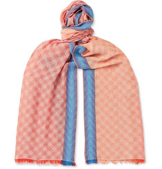 Missoni Fringed Checked Cotton-Blend Scarf
