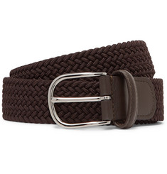 Anderson's 3.5cm Brown Leather-Trimmed Woven Elastic Belt