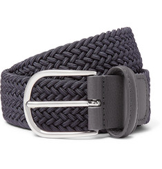 Anderson's 3.5cm Dark-Grey Leather-Trimmed Woven Elastic Belt