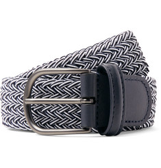 Anderson's 3.5cm Midnight-Blue Leather-Trimmed Woven Elastic Belt