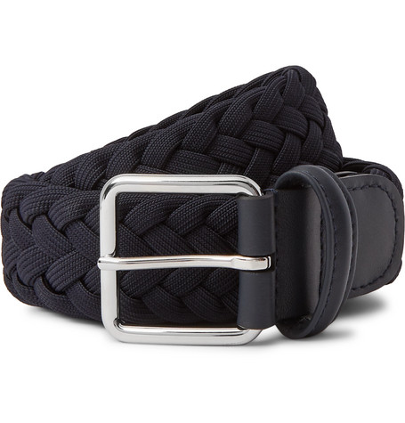 Anderson's 4cm Navy Leather-Trimmed Woven Elastic Belt