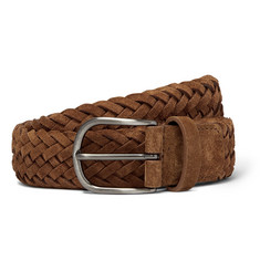 Anderson's 4cm Tan Woven Suede Belt