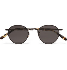 Garrett Leight California Optical Wilson M 46 Round-Frame Metal and Tortoiseshell Acetate Sunglasses