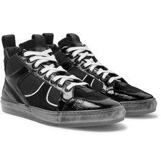 RtA 1001 Patent Full-Grain Leather, Suede and Mesh High-Top Sneakers