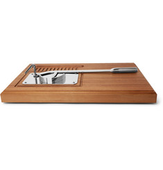 Lorenzi Milano Stainless Steel and Walnut Oyster Set