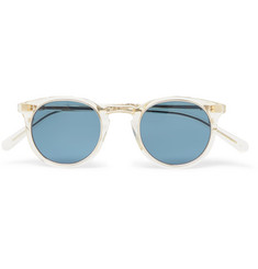 Mr Leight Crosby S Round-Frame 12-Karat White Gold-Plated and Acetate Glasses