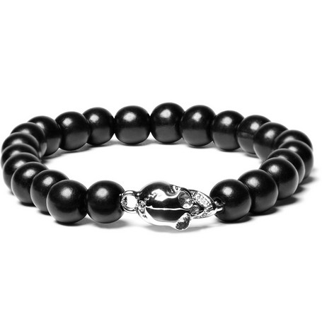 Luis Morais Ebony and White Gold Skull Bracelet