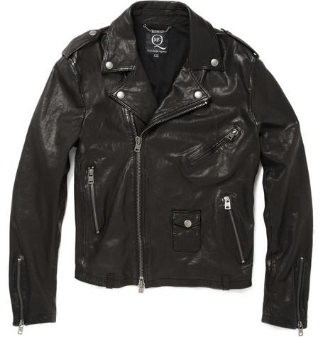 McQ Alexander McQueen Worn Leather Biker Jacket