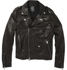 McQ Worn Leather Biker Jacket