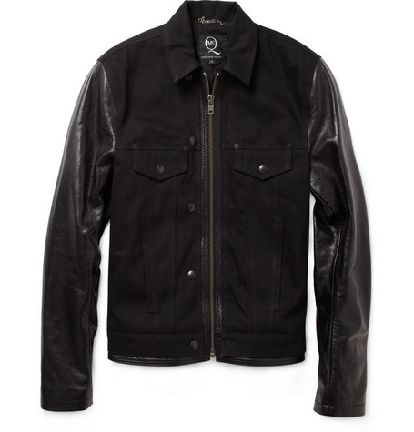 McQ Alexander McQueen Leather and Denim Jacket