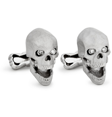 Ralph Lauren Shoes & Accessories White Gold Skull Cufflinks with Diamond Eyes