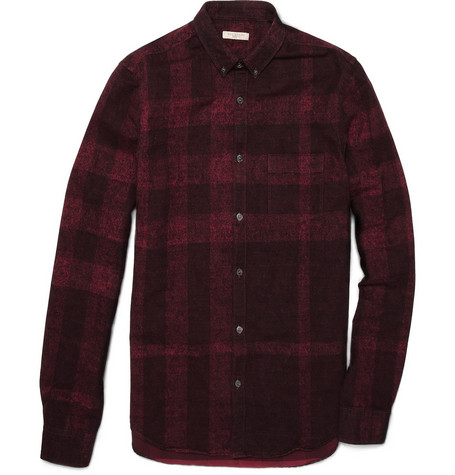 Burberry Brit Faded Plaid Cotton Shirt
