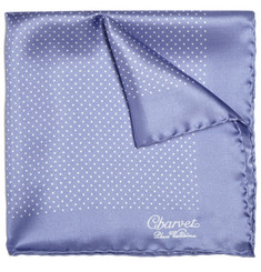 Charvet Silk Polka Dot Pocket Square