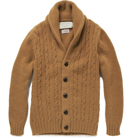 Maison Kitsuné Cable Knit Shawl Collar Cardigan