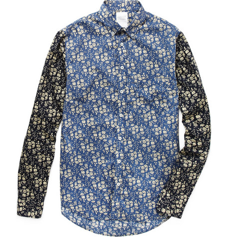 B Store Printed Shirt with Contrasting Sleeves