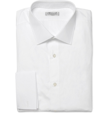 Charvet White Double-Cuff Cotton Shirt