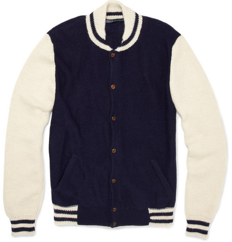 Monsieur Lacenaire Teddy Knitted Alpaca Varsity Jacket