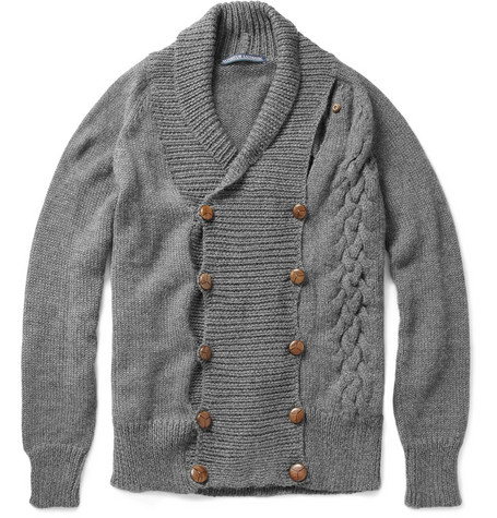 Monsieur Lacenaire Pierre-Francois Double-Breasted Cardigan with Detachable Scarf