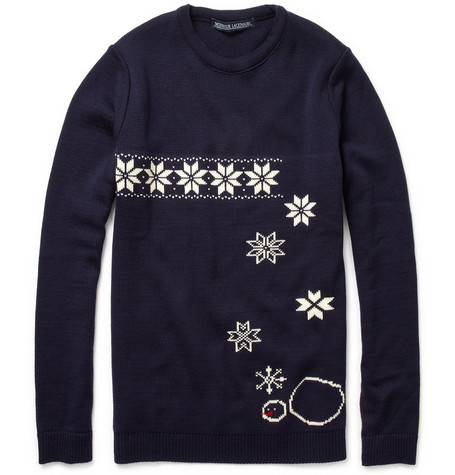 Monsieur Lacenaire Reversible Merino Wool Snowflake Sweater
