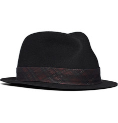 Rag & bone Wool Trilby Hat with Plaid Ribbon