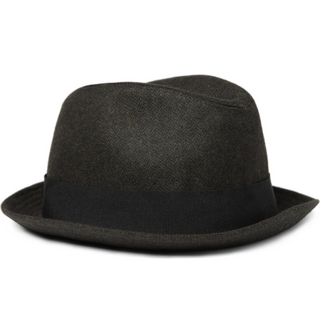 Paul Smith Shoes & Accessories Feather Trimmed Herringbone Trilby