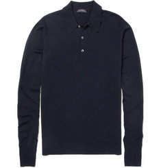 John Smedley Dorset Long-Sleeved Merino Wool Polo Shirt