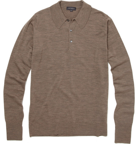John Smedley Dorset Long Sleeve Wool Polo Shirt