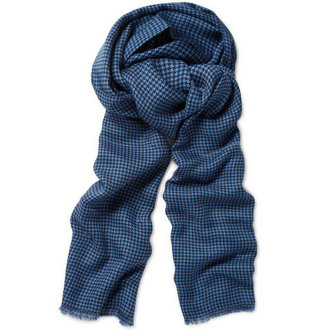 Richard James Houndstooth Cashmere-Blend Scarf