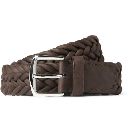 loro piana male 211468 loro piana 35cm brown delon woven leather belt dark brown
