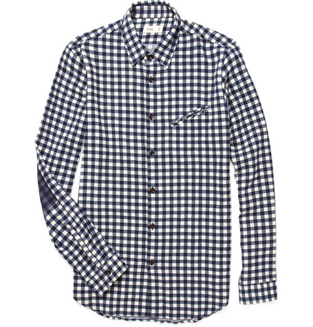 Folk Printed Elbow Patch Check Shirt