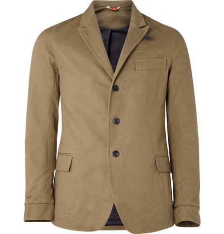 Oliver Spencer Three Button Cotton Twill Blazer
