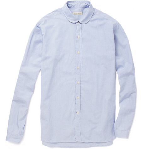Oliver Spencer Striped Eton Collar Cotton Shirt