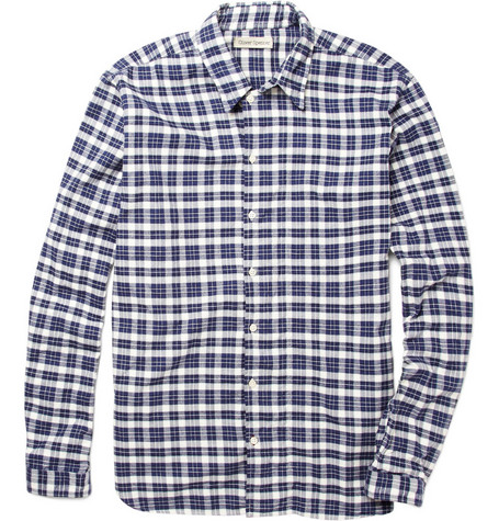 Oliver Spencer Wide Placket Plaid Flannel Shirt