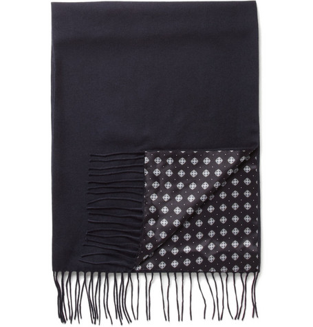 Brioni Reversible Silk and Cashmere Fringed Scarf