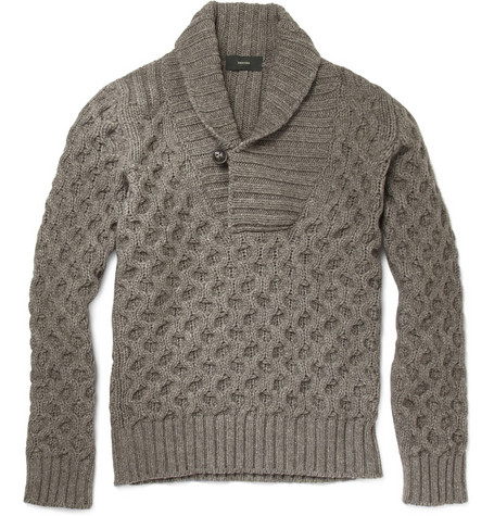 Slowear Zanone Chunky Shawl Collar Sweater