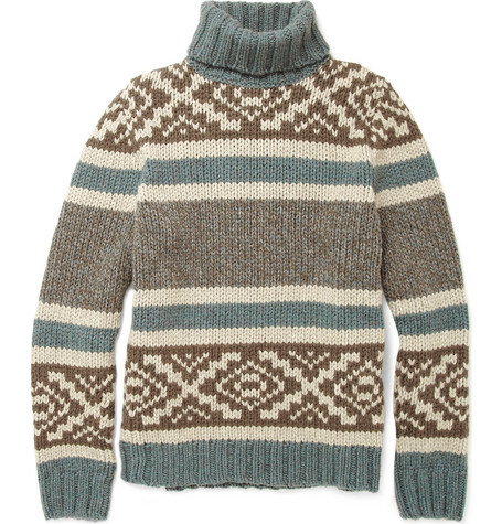 Slowear Zanone Chunky Fair Isle Rollneck Sweater