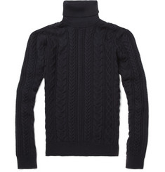 Incotex Zanone Cable Knit Roll Neck Sweater