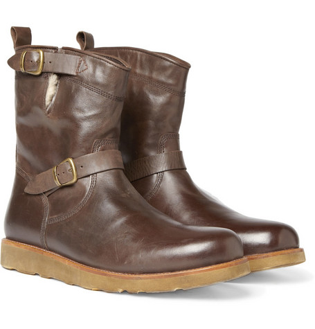 Belstaff Barkmaster Shearling-Lined Leather Boots