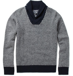 Woolrich Patterned Shawl Collar Sweater