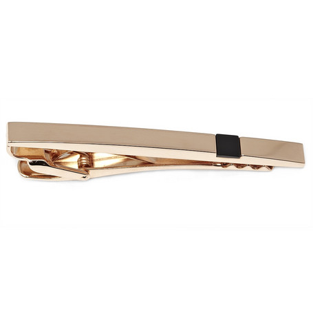 Lanvin Red Gold Plated and Onyx Tie Bar