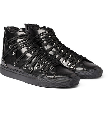Raf Simons Leather Lace-Strapped Sneakers