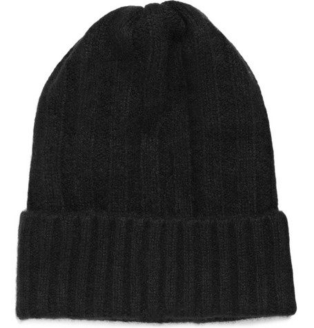 The Elder Statesman Bunny Echo Ribbed Cashmere Beanie Hat