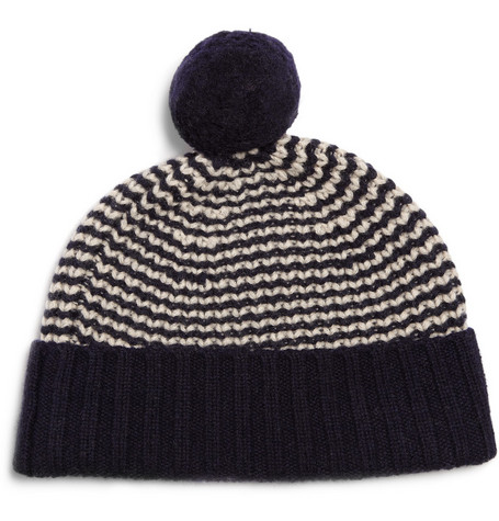 YMC Wool Striped Bobble Hat